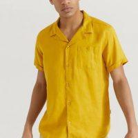 Les Deux Kortermet skjorte Laurent Tencel SS Shirt Gul