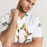 Levi's Kortermet skjorte Cubano Shirt Flamingo Leaf Pri Hvit