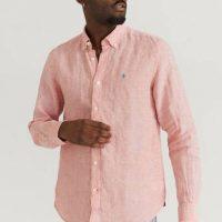Morris Skjorte Douglas Linen Shirt LS Rød