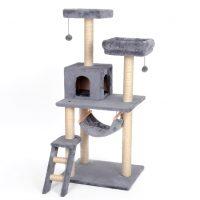 Stort grått kloremøbel til katt, 134cm