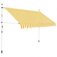 vidaXL Manuell uttrekkbar markise 250 cm gule og hvite striper
