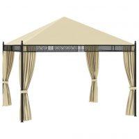 vidaXL Paviljong med gardiner 3,5x3,5x3,1 m krem polyrotting 140 g/m²