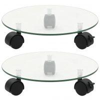 vidaXL Plantetraller 2 stk herdet glass 28 cm rund
