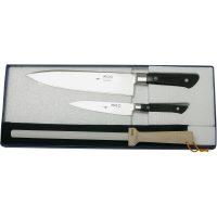 MAC Knivsett 3-deler Kokkekniv MBK-85 Grønnsakskniv PKF-50 og Bryne