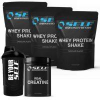 Self - 3kg Wheyshake, 500g creatin & Shaker - pakke
