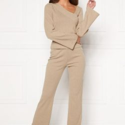 BUBBLEROOM Lesley rib trousers Beige L