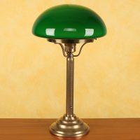 Bordlampe Hari i messing med grønn skjerm