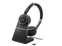 Jabra Evolve 75 UC Stereo + charging station - Hodesett - on-ear - Bluetooth - trådløs - aktiv støydemping - USB