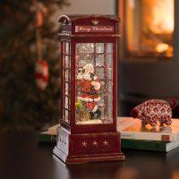 LED-dekorasjonslampe Telefonboks med julenisse