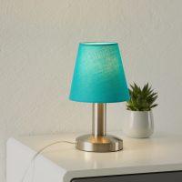 Turkisfarget bordlampe Merete touch-funksjon