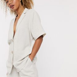 & Other Stories linen short sleeve blazer in beige