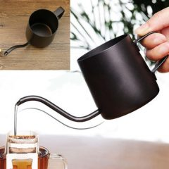 350ml Stainless Steel Pour Over Drip Kettle Long Narrow Spout Black Teapot Home Office Drinkware