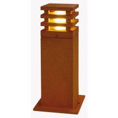 40 cm høy LED-sokkellampe Rusty, firkantet