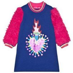 Agatha Ruiz de la Prada Heart Graphic and Faux Fur Sleeves Svette Kjole Blå 3 years