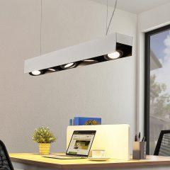Arcchio Olinka LED-hengelampe, svart-hvit 5-lk.
