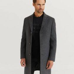 Calvin Klein Frakk Wool Cashmere Crombie Coat Grå