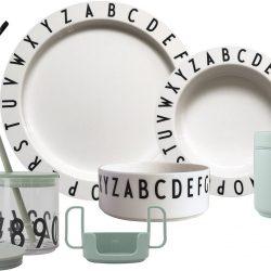 Design Letters Eat & Learn Barneservise Gaveboks Premium, Grønn/Hvit