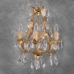 Eksklusiv PISA lysekrone i gull og glass