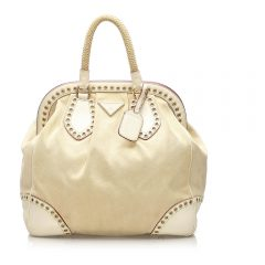 Grommet Frame Canvas Handbag