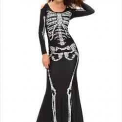 Halloween Skeleton Cold Shoulder Maxi Dresses