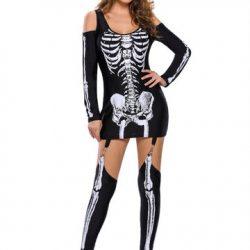 Halloween Skeleton Cold Shoulder Women Jumpsuits