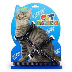 Kattesele med lenke sort/blå