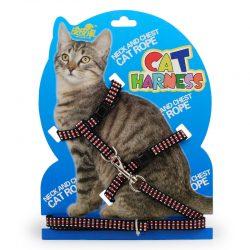 Kattesele med lenke sort/rød