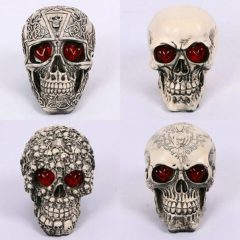 LED Eyes Homosapiens Skull Human Skeleton Head Halloween Prop Decor