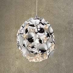LED-pendellampe Narisa, Ø 18 cm krom