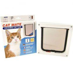 Låsbar katteluke til tynne dører, brun / hvit