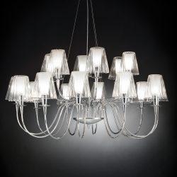 Lysekrone Opera med glasskjermer, 18 lys