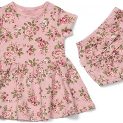 Petite Chérie Atelier Magnolia Kjole og Truse, Pink/Flowers 68