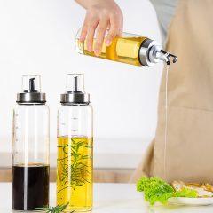 Portable Oil Dispenser Seasoning Bottles Dispenser With Scale Sauce Bottle Glass Storage Bottles