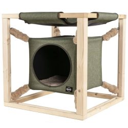 Quapas! Katteseng med hengekøye Catcube grønn M 54x54x54 cm