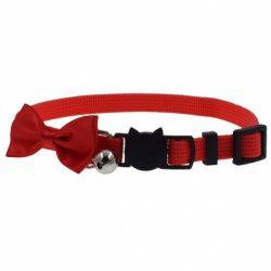 Rødt halsbånd med rød sløyfe til pus
