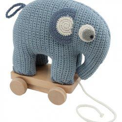 Sebra Heklet Draleke Elefanten Fanto, Blå