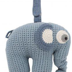 Sebra Heklet Spilledåse Elefanten Fanto, Blå