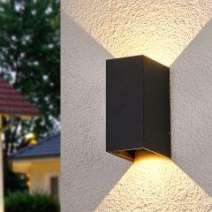 Tosidig lysende LED-vegglampe Kimian, utebruk