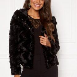 VERO MODA Curl Hoody Faux Fur Black XL