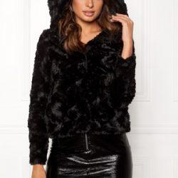 VERO MODA Curl Hoody Faux Fur Short Black L