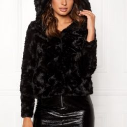 VERO MODA Curl Hoody Faux Fur Short Black M