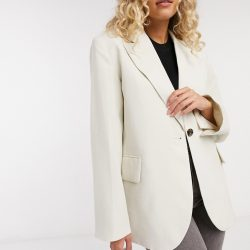 & Other Stories oversized blazer in off white-Grey