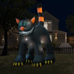 vidaXL Halloween Oppblåsbar svart katt med LED XXL 6 m