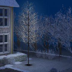 vidaXL Juletre 2000 lysdioder kaldhvitt lys kirsebærblomst 500 cm