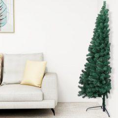 vidaXL Kunstig juletre halvt med stativ grønn 210 cm PVC