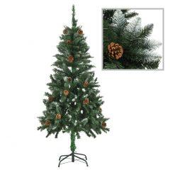 vidaXL Kunstig juletre med furukongler og hvitt glitter 150 cm