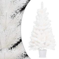 vidaXL Kunstig juletre med potte hvit 90 cm PE