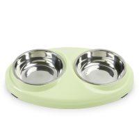 Dus grønn dobbel katt og hundeskål