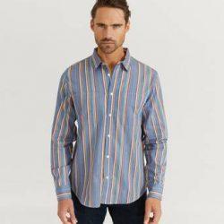 HUF Skjorte Taylor Work Woven L/S Shirt Blå