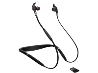 Jabra Evolve 75e MS - Ørepropper med mikrofon - i øret - bak-nakken-montering - Bluetooth - trådløs - aktiv støydemping - USB - lydisolerende